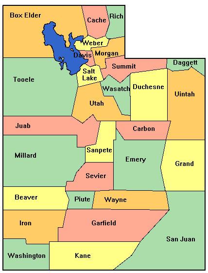 Map of Utah Counties