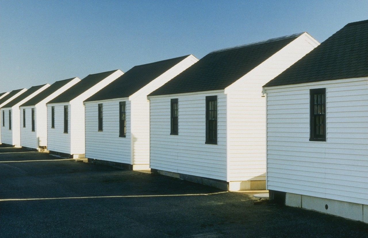 Row of homes with roofs