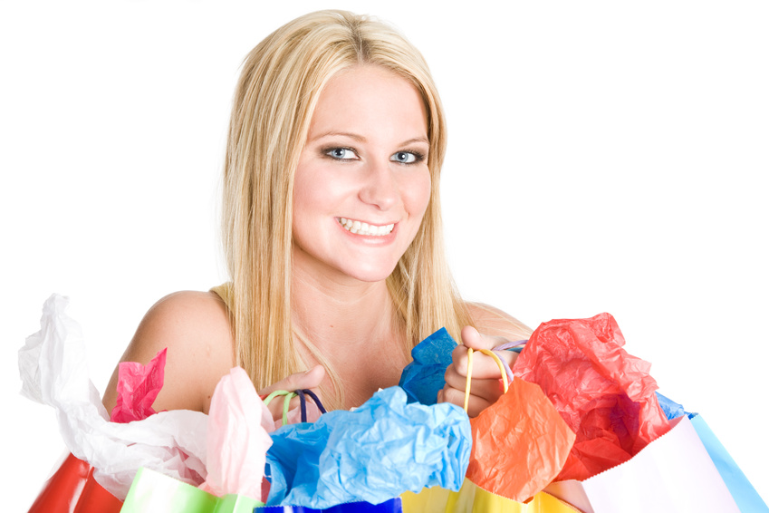 Lady with colored shopping bags